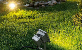 LED floodlights in outdoor landscape lighting project